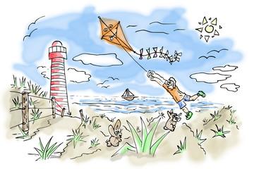 Kleurplaat illustratie van strand vakantie