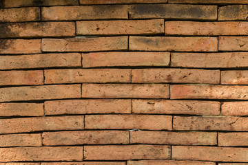 Wall Mural - Closeup of the weathered red brick wall