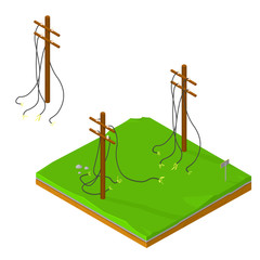 A vector illustration of a power cut due to damaged electricity poles on land tile. Broken Electricity Power line cables icon illustration. Blackout power outage concept.