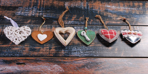 six different  hearts on shabby background