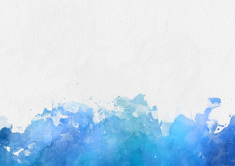 Colorful blue watercolor paint border
