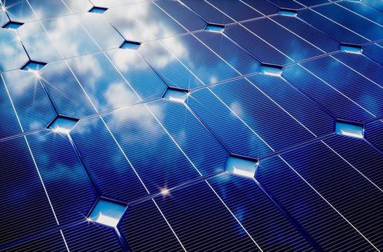 Photovoltaic with cloudy sky reflection