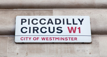 Piccadilly Circus road sign