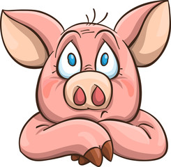 melancholy cartoon pig
