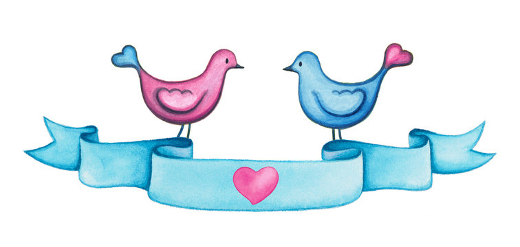 Valentines day watercolor blue ribbon banner with two love birds. Hand painted romantic illustration for love designs - projects.