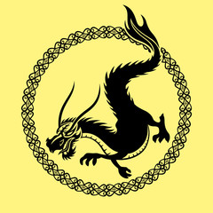 The sign of the dragon in the round frame on a yellow background.
