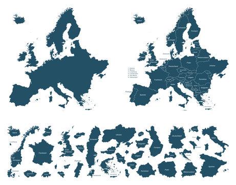 Europa detaillierte Karten - Vektor (beschriftet)