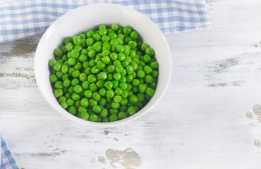 Green peas in a bowl.