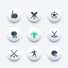 sport, games, competition round modern icons, vector illustration