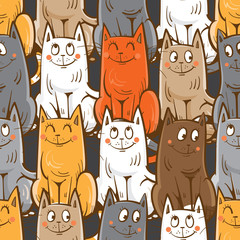 Vector seamless pattern with cute cartoon cats  on gray  background.