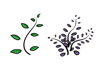 Leaf Decoration, a hand drawn vector illustration of leaf decoration in line art style.