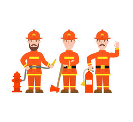 fireman character set on white background