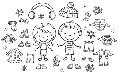 Wall Mural - Winter clothes set for a boy and a girl, black and white outline