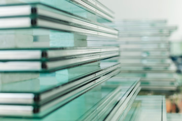 Obraz Sheets of Tempered Window Glass - fototapety do salonu
