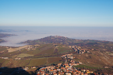 The valley and the city in the mist.
