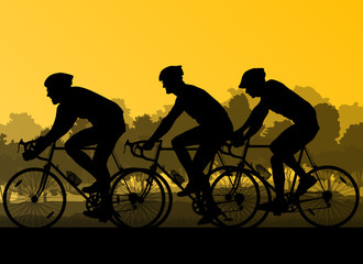 Bicyclist riding bicycle group marathon background silhouette ve
