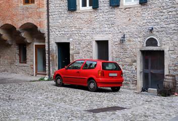 Red Car in Old Town