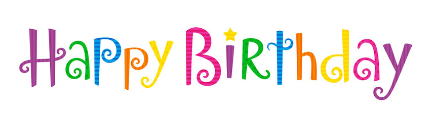 """HAPPY BIRTHDAY"" Card in Festive Tree font with motifs"