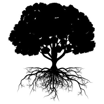 Tree of life vector background abstract shape stylized tree with