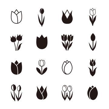 Tulip icons, vector illustration