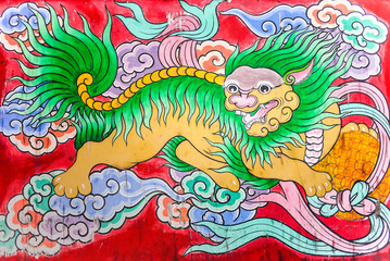 Chinese Dragon,Tradition Chinese painting on wooden box in Chinese temple.