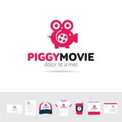 Piggy Movie business company logo template