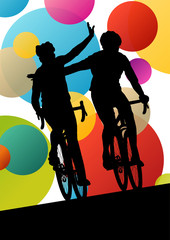 Active men cyclists bicycle riders in abstract sport landscape b