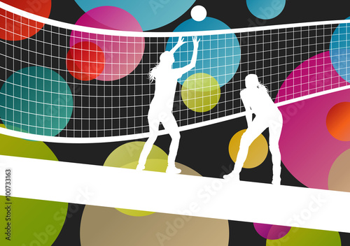 "Illustration Abstract Volleyball Player Silhouette: ""Volleyball Player Silhouettes In Sport Abstract Vector"