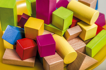 Untidy variety wooden colorful blocks