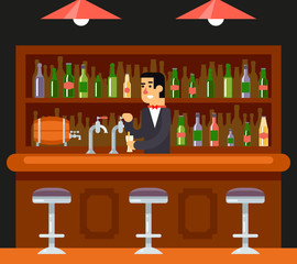 Pub Bar Restaurant Cafe Barkeeper Character Symbol Alcohol Beer House Interior Icon Background Concept Flat Design Template  Vector Illustration