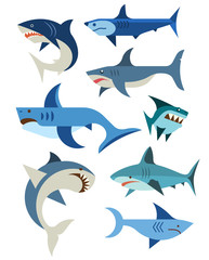 Vector set of sharks.