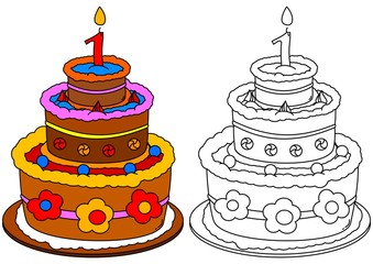Colored cake with a candle as a coloring for little kids - vector eps