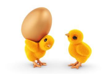 zwei Küken mit Ei