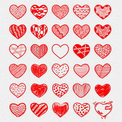 Heart Icons Set, hand drawn, doodl icons and illustrations