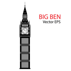 Vector Illustration of Big Ben Tower, London. Isolated on white background.