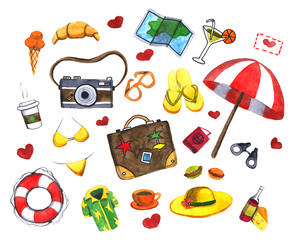 Watercolor set of travel icons