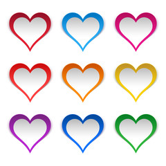 Colored hearts stickers set. Popular colors: scarlet, sky blue, pink and six rainbow colors.