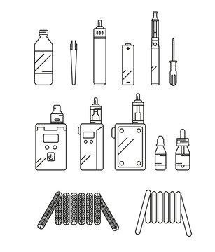 Linear vaping icon set