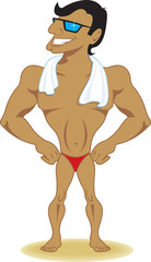 Muscular beach guy poses in swim trunks and towel