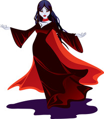 Beautiful female vampire in a black, flowing gown and red cape