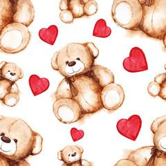 Cartoon lovely Teddy Bear toy Saint Valentine's day seamless pattern texture background