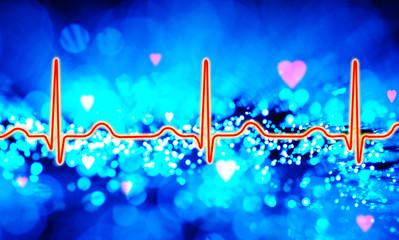 Heartbeat-wave-blue-bokeh