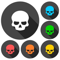 Skull icons set with long shadow