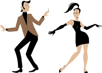 Fototapete - Stylish 1960s couple dancing, EPS 8 vector illustration
