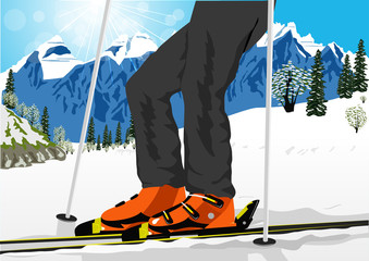 close up of ski low angle