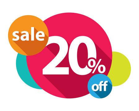 20% discount logo colorful circles