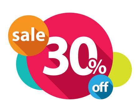 30% discount logo colorful circles