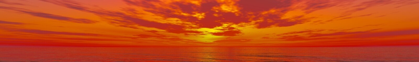 panorama of sunset on the ocean, the sunrise over the sea, banner
