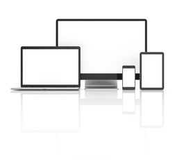 Modern laptop, tablet, phone and pc isolated on white.
