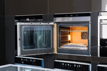 Modern oven with door open